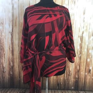 Lane Bryant red black asymmetrical hem blouse